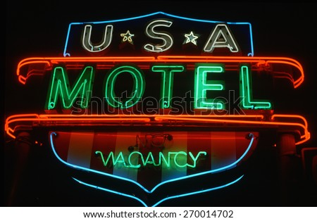 Neon sign for U.S.A. Motel advertising vacancy in Hartford, Connecticut - stock photo