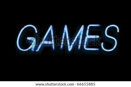 Neon sign, Games - stock photo