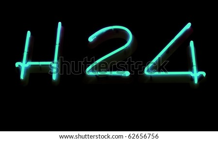 Neon sign, H 24 - stock photo