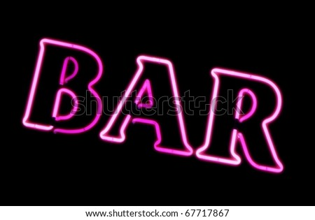 Neon sign of a Bar - stock photo