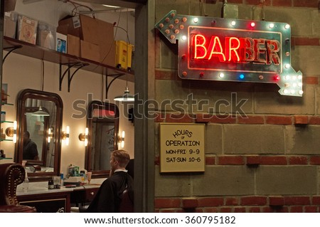 Neon sign of a barber shop, Chelsea, beard, hair salon, opening hours, market, New York City, Nyc, the Big Apple, Manhattan, New York Bay, Hudson River, Atlantic Ocean, United States of America, Usa - stock photo