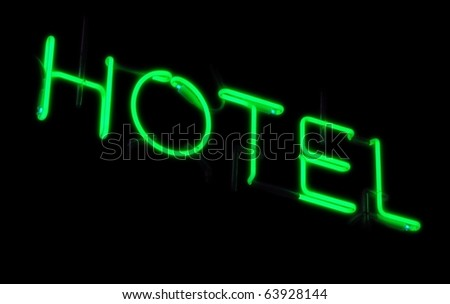 Neon sign of a small hotel - stock photo