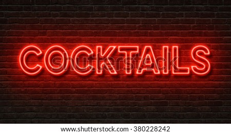 Neon sign on a brick wall - Cocktails - stock photo