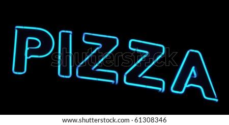 Neon sign, Pizza - stock photo