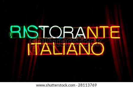Neon sign, RISTORANTE ITALIANO - stock photo
