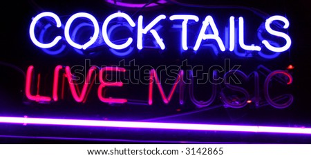 """Neon Sign series  """"cocktails, live music"""" - stock photo"""