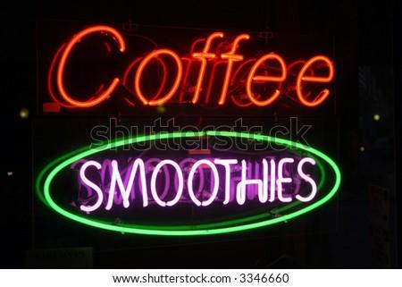 "Neon Sign Series ""coffee smoothies"" - stock photo"