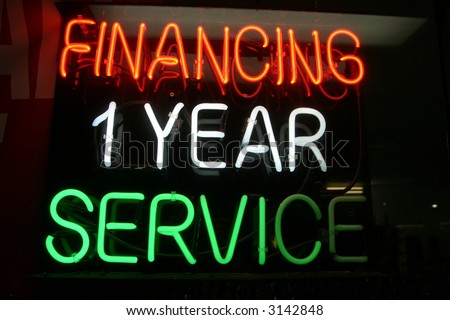 "Neon Sign series  ""financing 1 year service"""