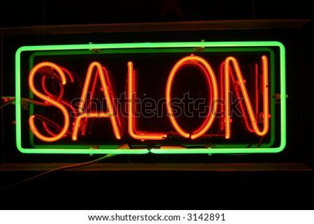 Neon Sign series  Salon - stock photo