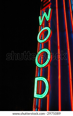 "Neon Sign ""Wood"" - stock photo"