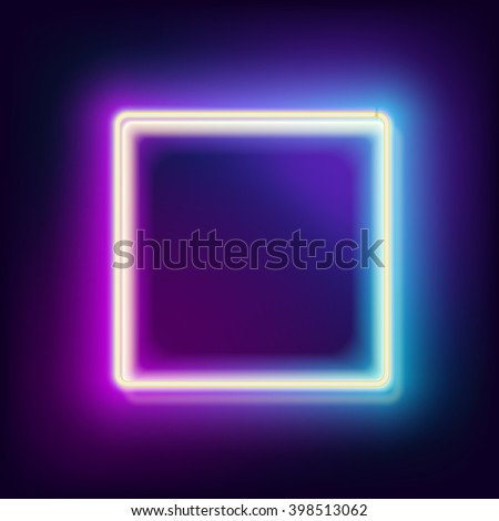 Neon square. Neon blue light. electric frame. Vintage frame. Retro neon lamp. Space for text. Glowing neon background. Abstract electric background. Neon sign square. Glowing electric frame - stock photo