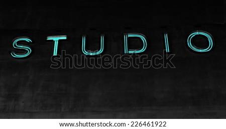 Neon Studio Sign - stock photo