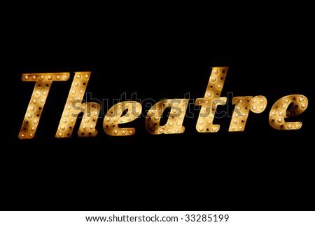 neon theatre - stock photo