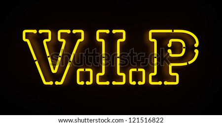 Neon VIP sign isolated on black