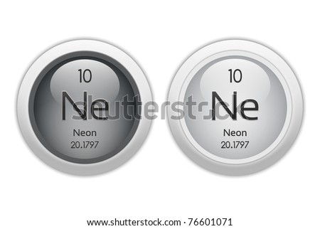 Neon Web Buttons Chemical Element Atomic Stock Illustration 76601071