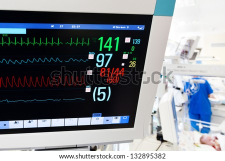 Neonatal ICU with ECG monitor on foreground - stock photo