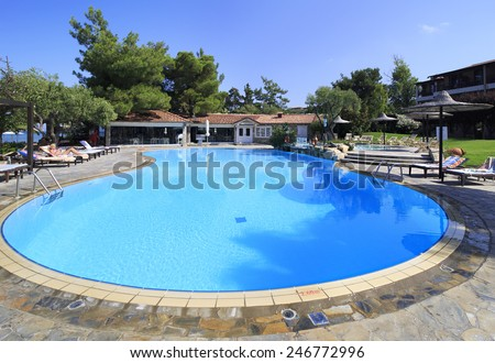 Neos Marmaras, Greece - July 10, 2014: Swimming pool on site of Anthemus Sea Beach Hotel. Chalkidike in Greece