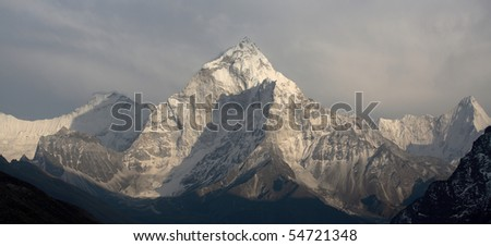 Nepalese landscape , Ama-Dablam - stock photo