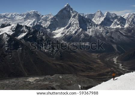 Nepalese landscape, Ama-Dablam - stock photo
