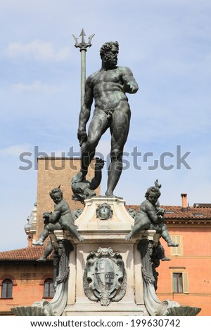 Neptune fountain at Piazza Maggiore, unesco world heritage in Bologna, Italy - stock photo