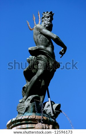 Neptune statue, Trento, northern of Italy - stock photo