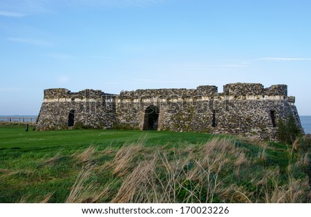 Neptunes Tower, the ruins of a folly built by Lord Holland of Kingsgate Castle.   - stock photo
