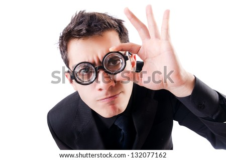 Nerd businessman isolated on the white - stock photo