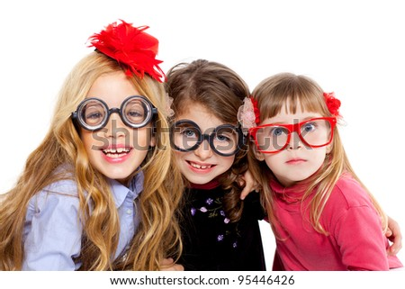 nerd children girl group with glasses and funny expression - stock photo
