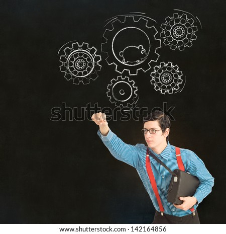 Nerd geek businessman, student or teacher with chalk running hamster thinking turning gear cogs or gears on blackboard background - stock photo