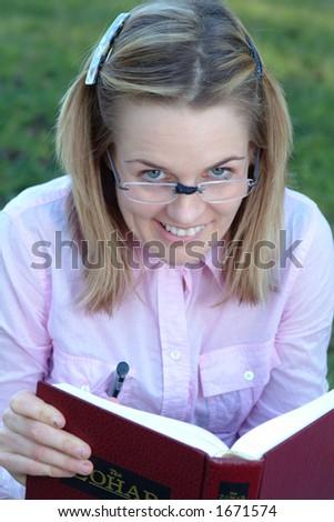 nerd girl - stock photo