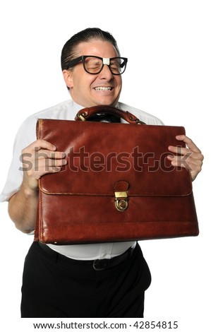 Nerd holding briefcase expressing emotions isolated over white background - stock photo