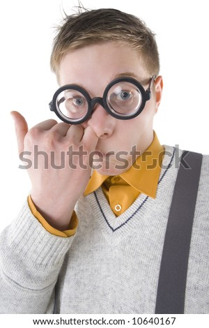 Nerd in funny glasses picking his nose. Looking at camera. Front view, white background - stock photo
