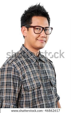 Nerd male portrait - stock photo