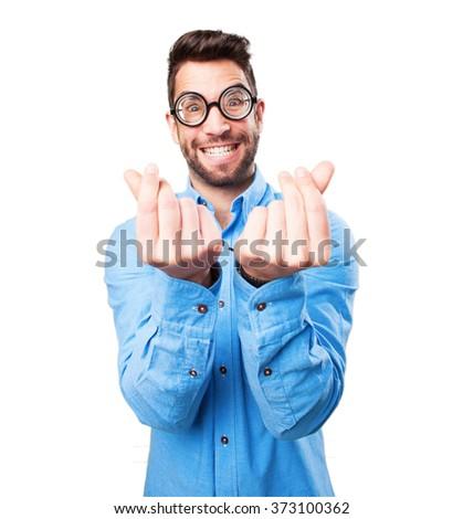 nerd man doing a rich gesture - stock photo