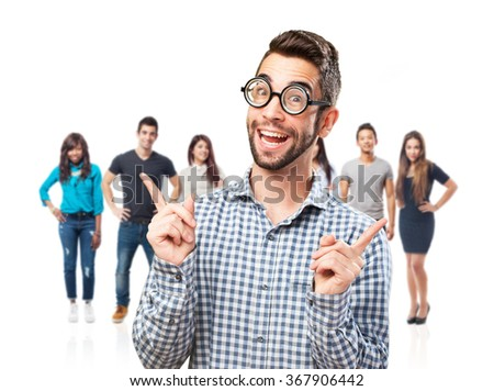 nerd smiling and having fun like a nerd - stock photo
