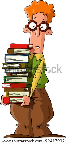 Nerd with a pile of books, raster - stock photo