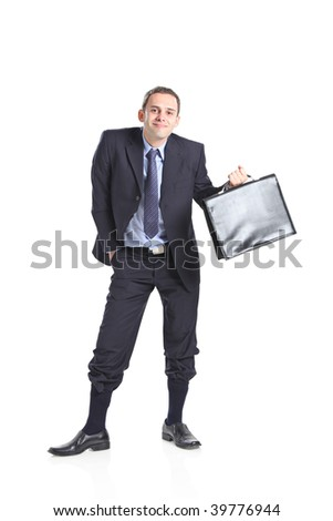 Nerdy businessman isolated against white background - stock photo