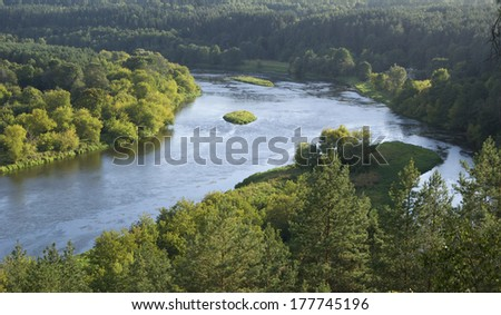 Neris river near Vilnius - stock photo