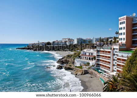 Nerja Beach and City - Spain - stock photo
