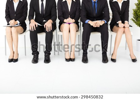 nervous business people waiting for interview - stock photo
