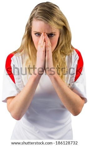 Nervous football fan in white on white background