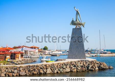 Nesebar, Bulgaria - July 21, 2014: Statue of Saint Nicholas in old Nessebar town, Black sea coast, Bulgaria - stock photo