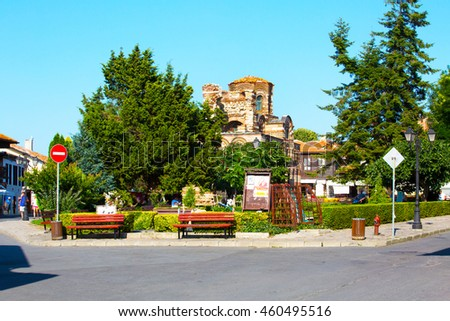 Nessebar, Bulgaria - July 25, 2016: Church and people walking in old town Nessebar or Nesebar in Bulgaria, Black sea