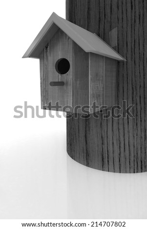 Nest box birdhouse on a white background - stock photo