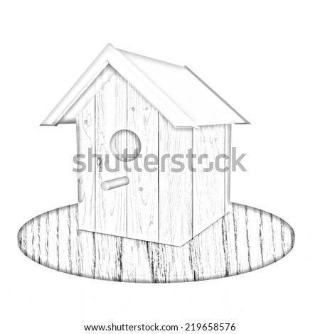 Nest box birdhouse on a white background. Pencil drawing  - stock photo