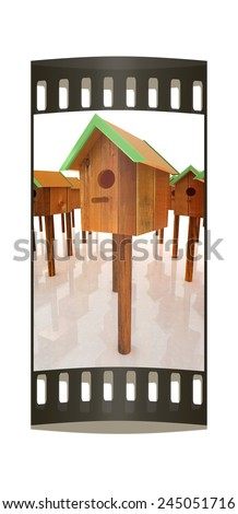 Nest box birdhouses. The film strip - stock photo