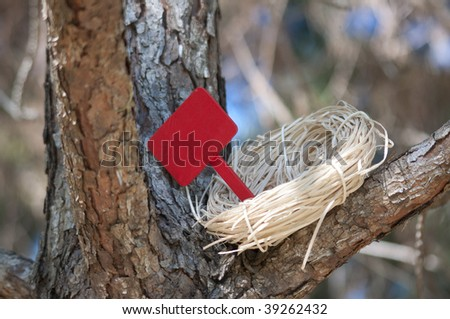 Nest in Tree with Blank Sign for you to add text.  Works well with for sale, for rent, welcome home, empty nest, etc.