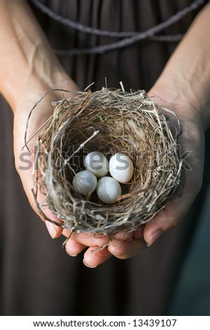 nest with eggs in woman's hands - stock photo