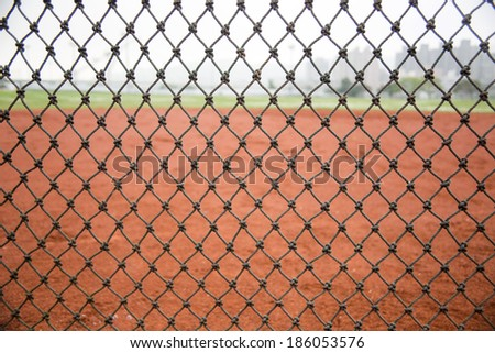 net and the baseball field - stock photo