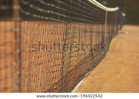 Net for tennis game - stock photo